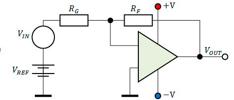 Схема включения ОУ с двуполярным питанием и источником постоянного смещения на входе усилителя